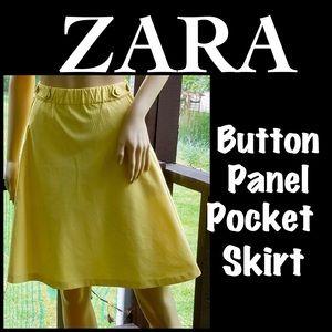 ▪️ZARA▪️Yellow Button Panel Pocket Skirt